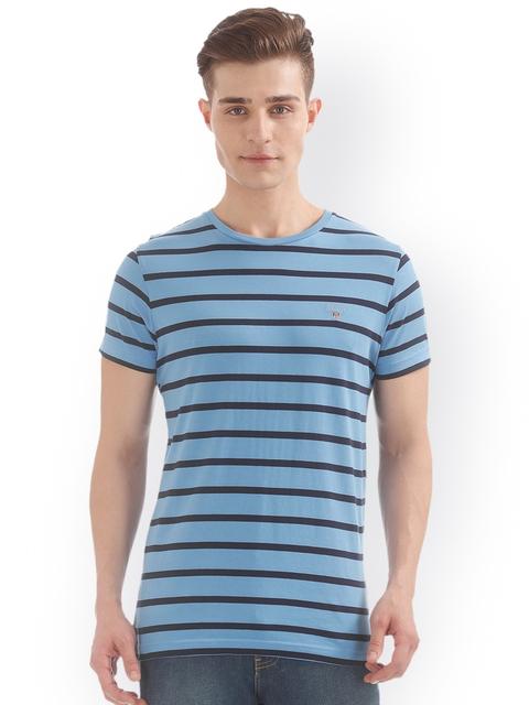 GANT Men Blue Striped Round Neck T-shirt