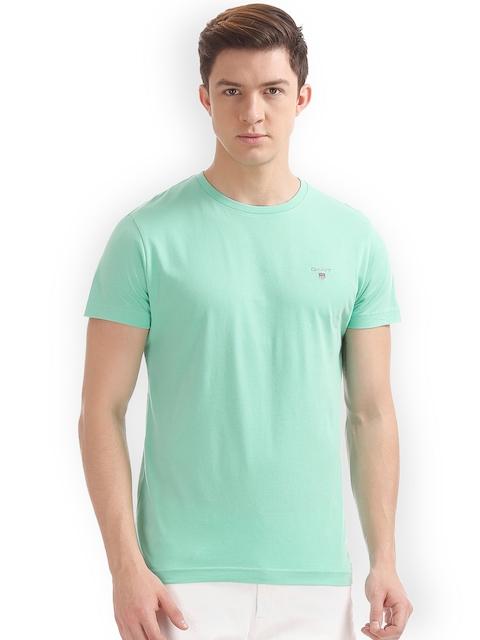 GANT Men Green Solid Round Neck T-shirt