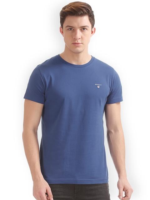GANT Men Blue Solid Round Neck T-shirt