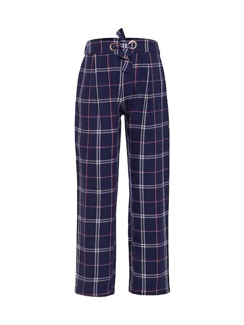 Oxolloxo Girls Navy Blue Comfort Regular Fit Checked Regular Trousers