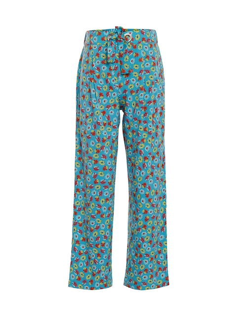 Oxolloxo Girls Green Comfort Regular Fit Printed Regular Trousers