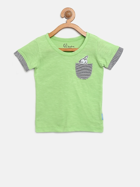 Gini and Jony Boys Green Solid Round Neck T-shirt