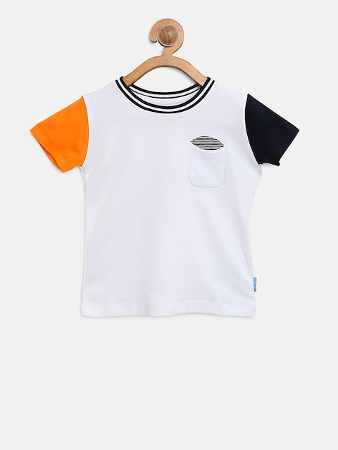Gini and Jony Boys White Solid Round Neck T-shirt