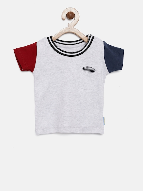 Gini and Jony Boys Grey Colourblocked Round Neck T-shirt