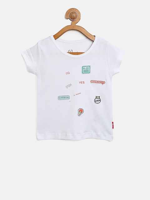 Gini and Jony Girls White Round Neck T-shirt with  Applique Detail