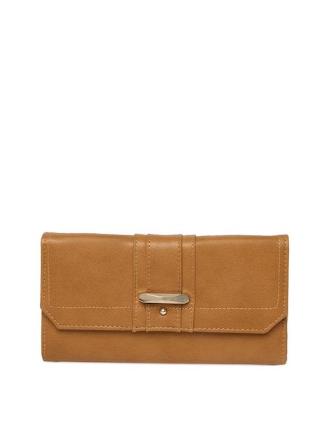 Allen Solly Women Tan Brown Solid Three Fold Wallet