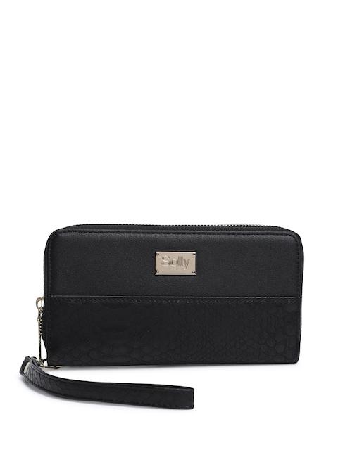 Allen Solly Women Black Textured Zip Around Wallet