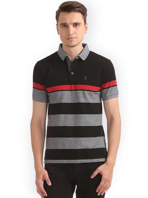 Arrow Blue Jean Co. Men Black Striped Polo Collar T-shirt