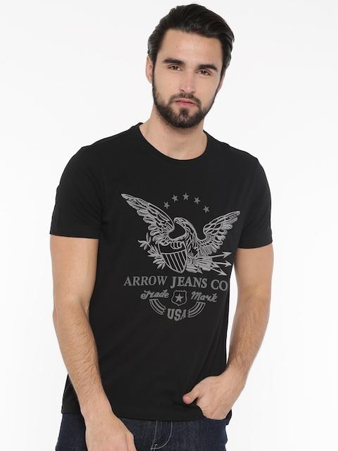 Arrow Blue Jean Co. Men Black Self Design Round Neck T-shirt