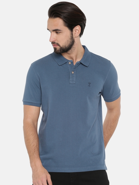 Arrow Blue Jean Co. Men Blue Solid Polo Collar T-shirt
