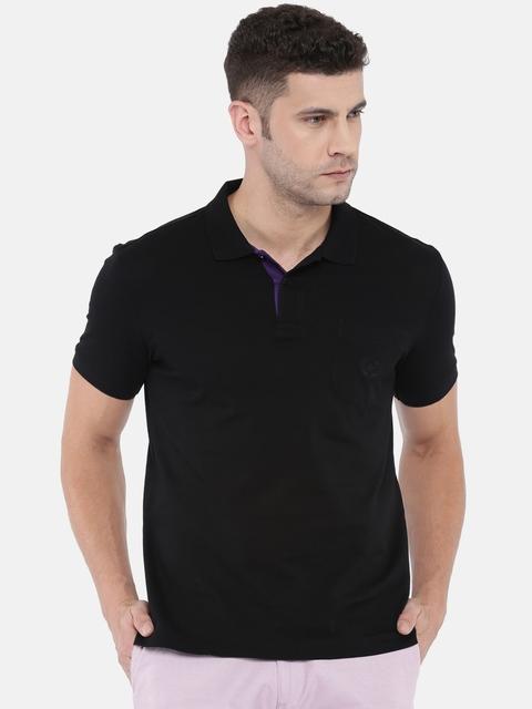 Arrow Sport Men Black Solid Polo Collar T-shirt