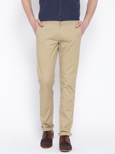 Arrow Sport Men Beige Regular Fit Solid Regular Trousers