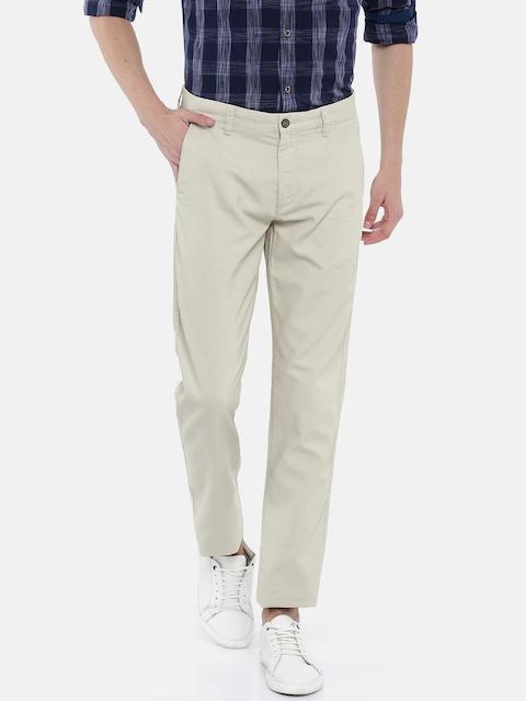Arrow Sport Men Beige Urban Slim Fit Solid Regular Trousers