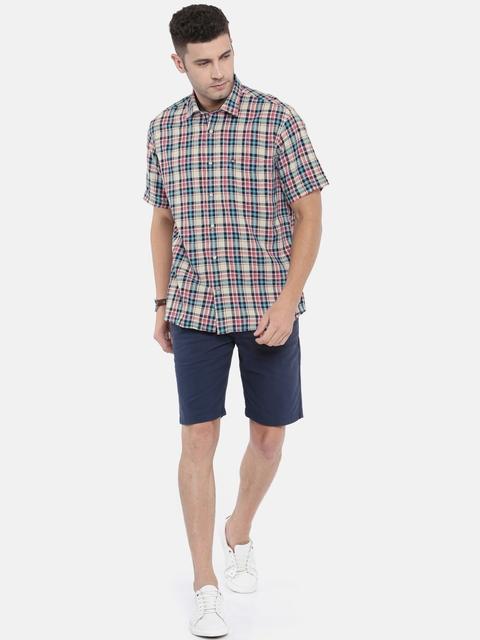 Arrow Sport Men Beige & Blue Regular Fit Checked Casual Shirt