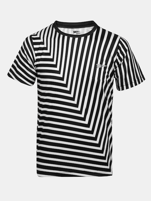 321 Sportswear Boys Black & White Striped Round Neck T-shirt