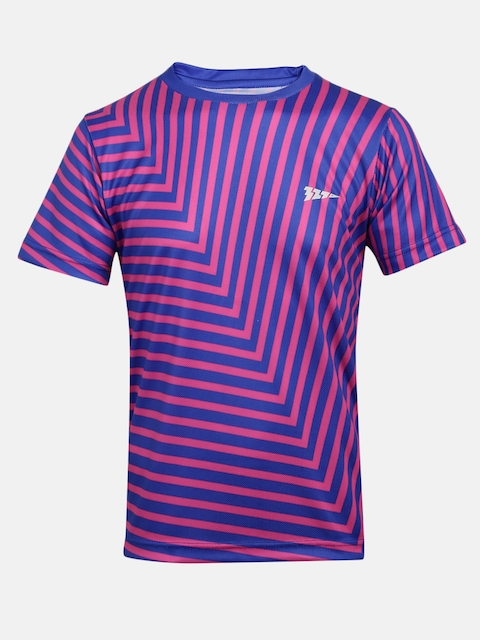 321 Sportswear Boys Blue & Pink Striped Round Neck T-shirt