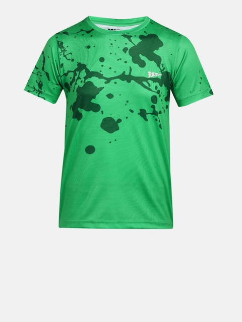 321 Sportswear Boys Green Printed Round Neck T-shirt