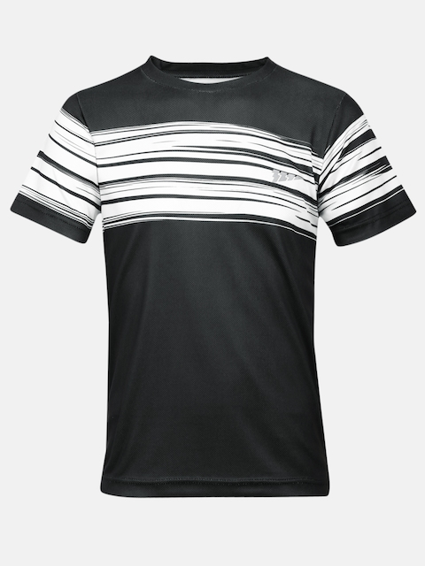 321 Sportswear Boys Black Striped Round Neck T-shirt