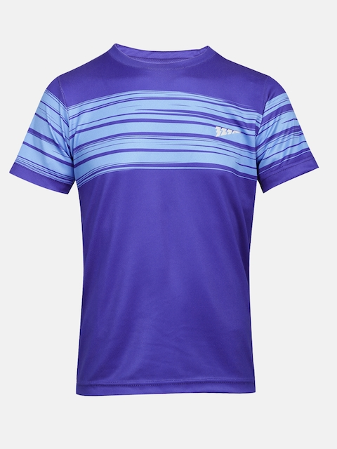 321 Sportswear Boys Blue Striped Round Neck T-shirt