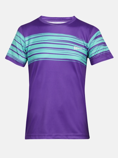 321 Sportswear Boys Purple Printed Round Neck T-shirt