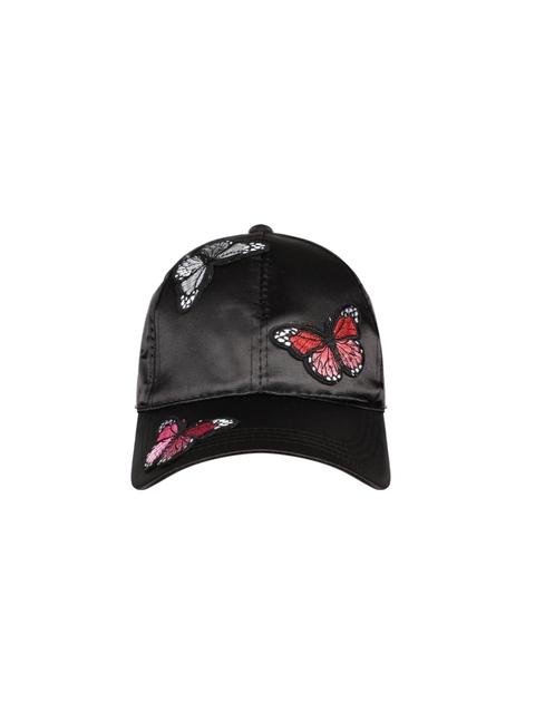 Ayesha Women Black Applique Baseball Cap