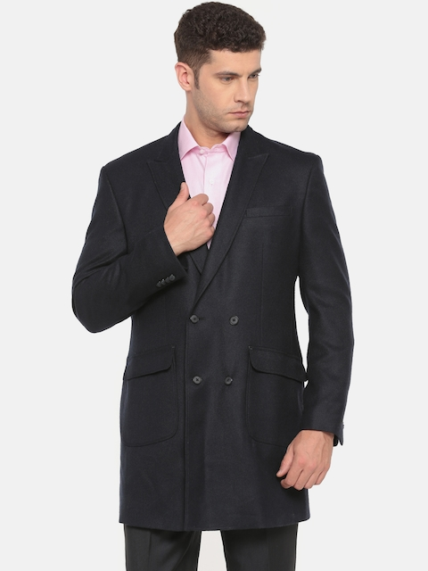 Van Heusen Men Navy Double-Breasted Slim Fit Woollen Formal Blazer