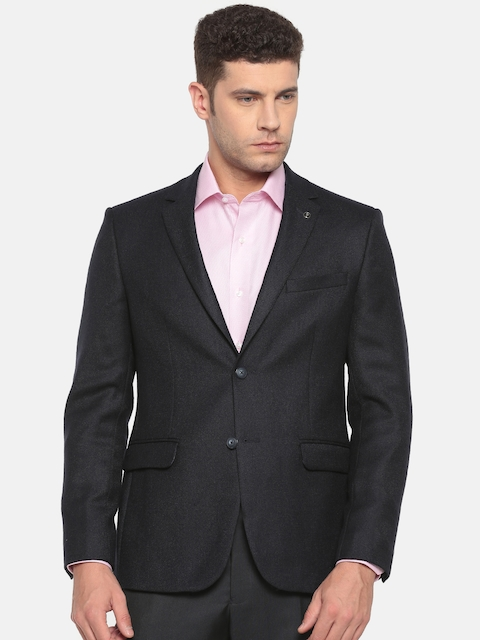 Van Heusen Men Navy Single-Breasted Slim Fit Formal Blazer