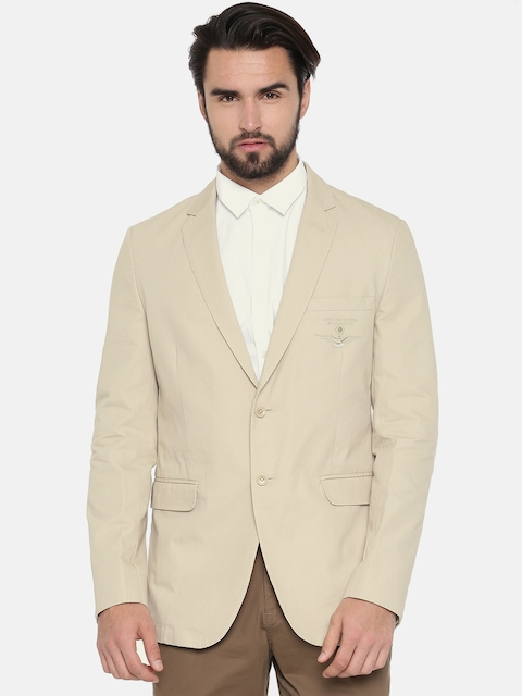 Van Heusen Sport Men Beige Solid Slim Fit Single Breasted Casual Blazer