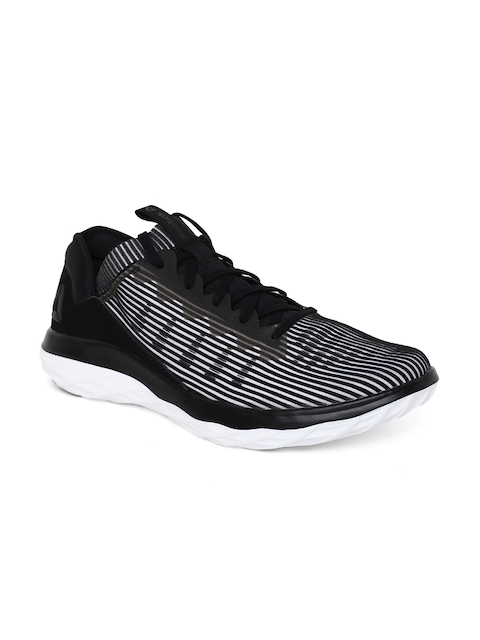 Reebok Men Black & White Astroride Forever Striped Running Shoes