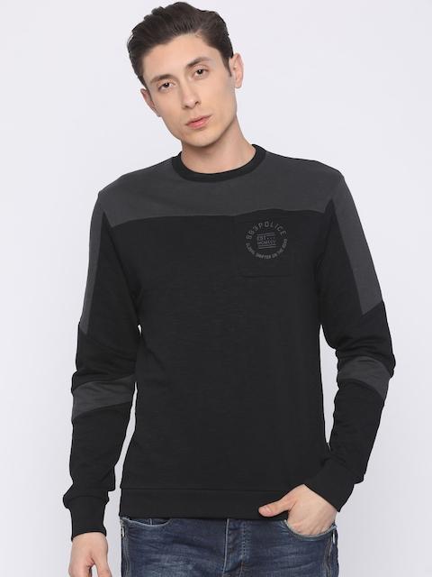 883 Police Men Black & Charcoal Solid Sweatshirt