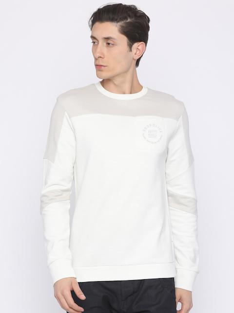 883 Police Men Grey & White Solid Sweatshirt
