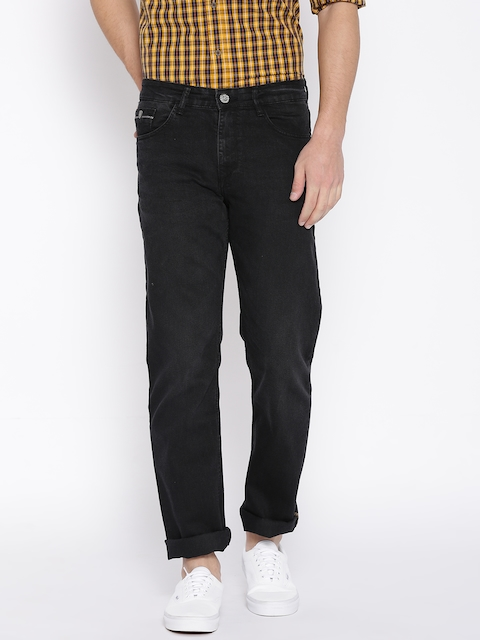 John Players Men Black Regular Fit Mid-Rise Clean Look Stretchable Jeans