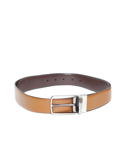 U.S. Polo Assn. Men Brown Leather Solid Reversible Belt