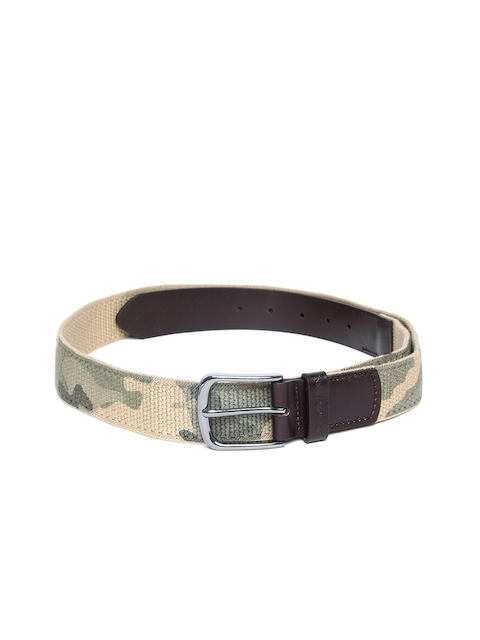 U.S. Polo Assn. Men Olive Green & Beige Camouflage Print Belt