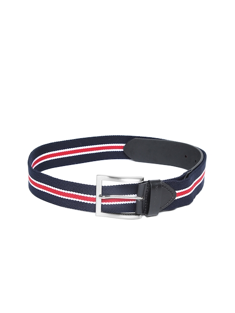 U.S. Polo Assn. Men Navy Blue & Red Striped Belt