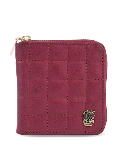 Chumbak Women Maroon Self Design Two Fold Wallet