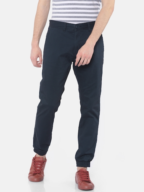 Cherokee Men Navy Blue Regular Fit Solid Joggers