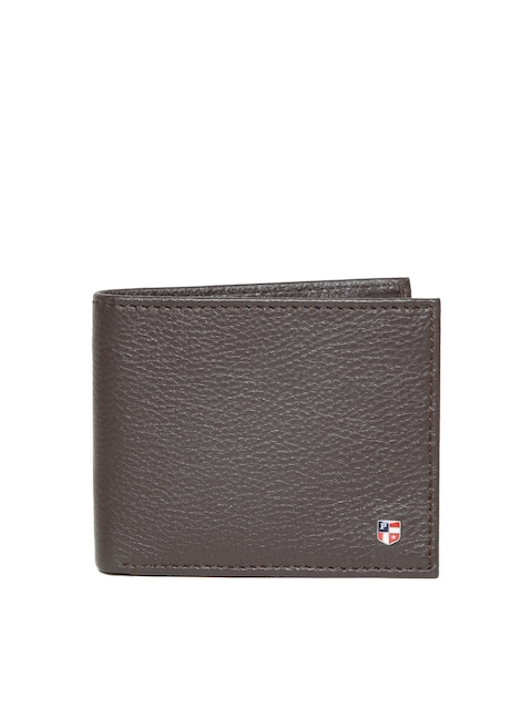 U.S. Polo Assn. Men Coffee Brown Leather Solid Two Fold Wallet