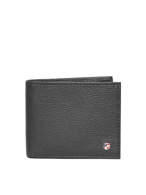 U.S. Polo Assn. Men Black Leather Solid Two Fold Wallet