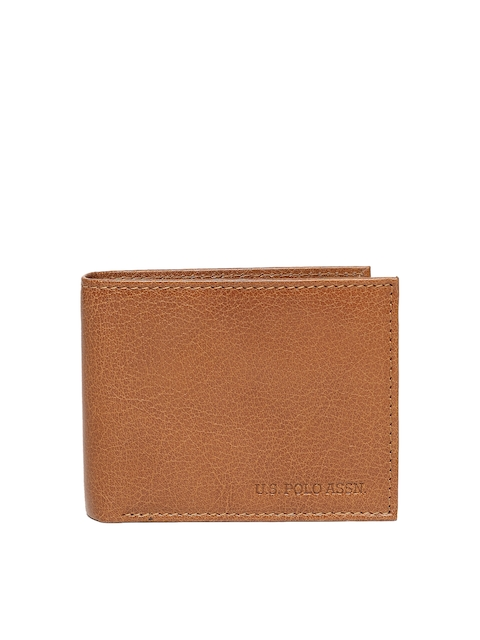 U.S. Polo Assn. Men Brown Textured Two Fold Wallet