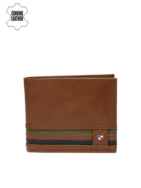 U.S. Polo Assn. Men Brown & Green Striped Two Fold Wallet