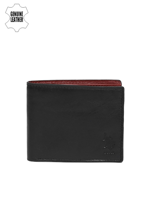 U.S. Polo Assn. Men Brown Solid Leather Two Fold Wallet