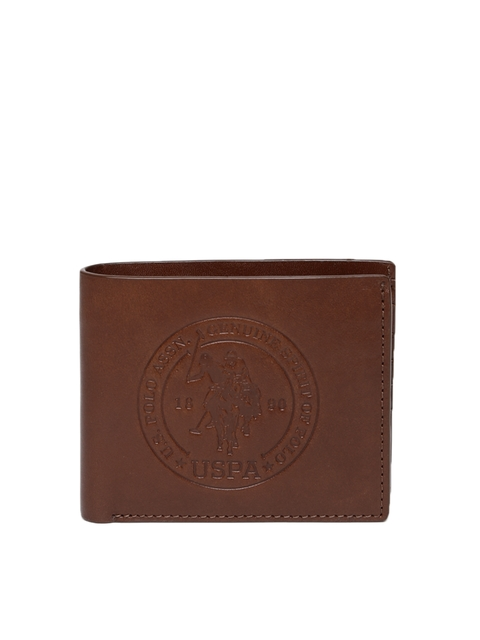 U.S. Polo Assn. Men Brown Solid Two Fold Wallet