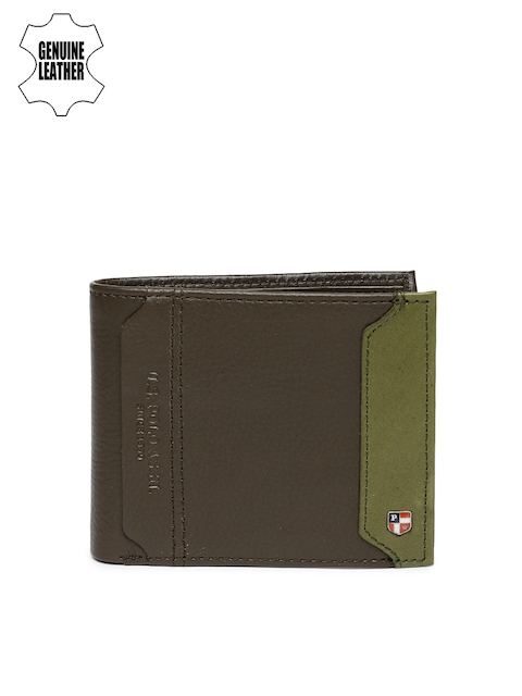 U.S. Polo Assn. Men Brown & Olive Green Solid Two Fold Wallet