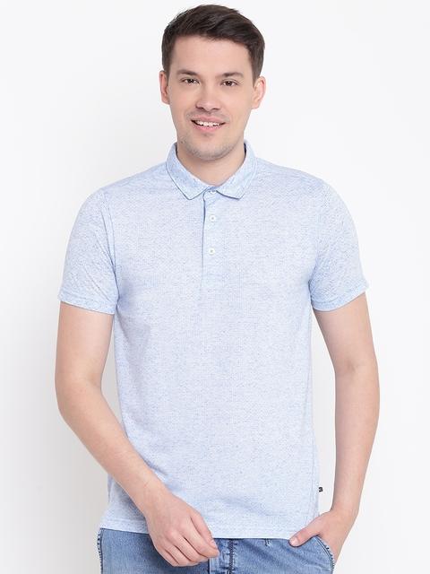 Numero Uno Men Blue Self-Design Polo Collar T-shirt
