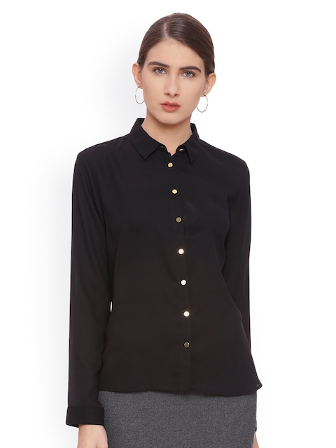 Van Heusen Woman Women Black Regular Fit Solid Casual Shirt