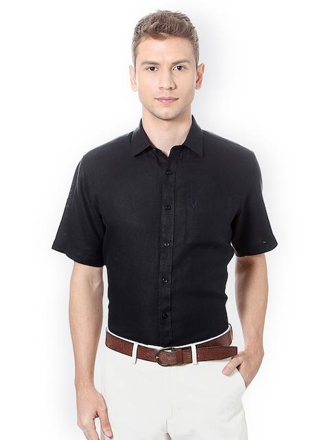 Allen Solly Men Black Slim Fit Self Design Casual Shirt
