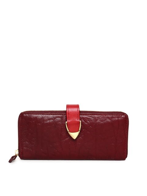 Hidesign Women Maroon Textured Zip Around Wallet
