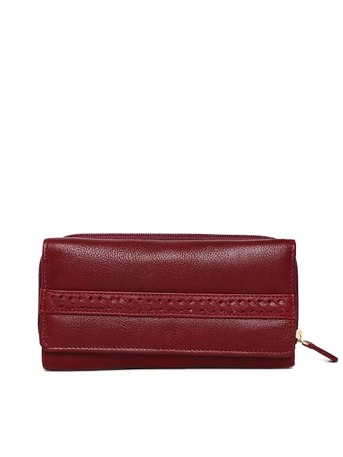 Hidesign Women Maroon Solid Zip Around Wallet