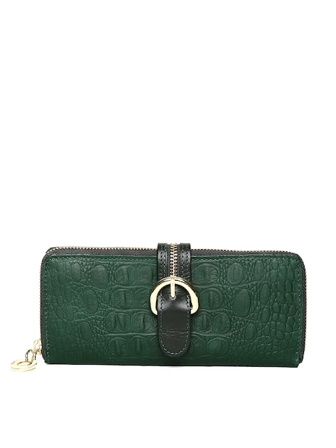 Hidesign Women Green Textured Zip Around Wallet